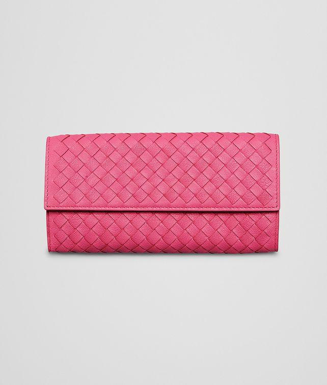 BOTTEGA VENETA Rosa Shock Intrecciato Washed Lambskin Continental Wallet Continental Wallet D fp
