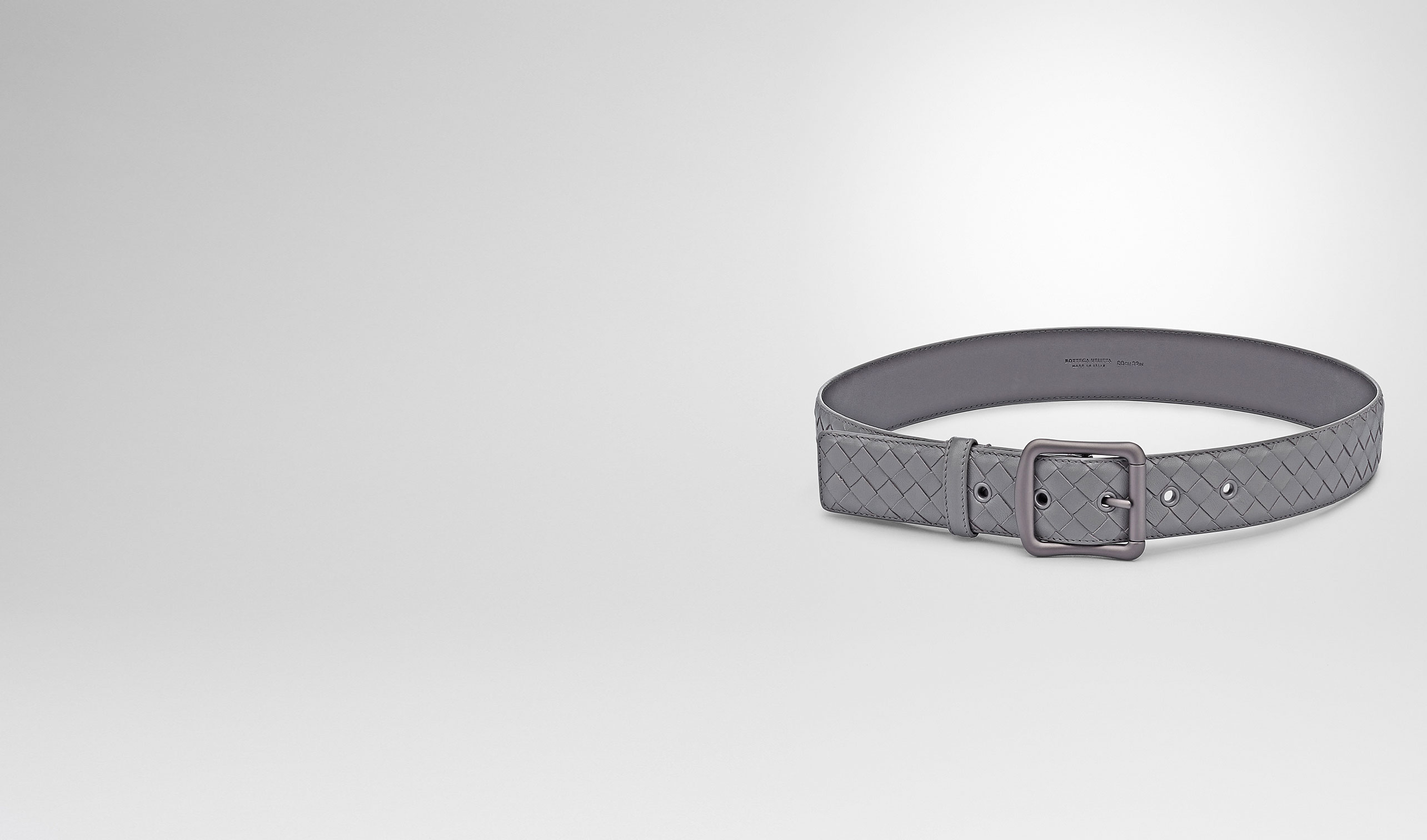 BOTTEGA VENETA Belt D NEW LIGHT GREY INTRECCIATO NAPPA BELT pl