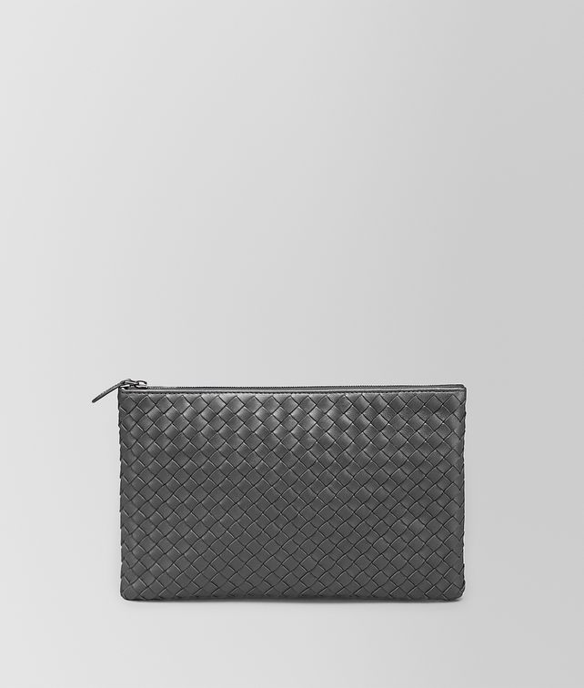 BOTTEGA VENETA MEDIUM DOCUMENT CASE IN NEW LIGHT GREY INTRECCIATO NAPPA Pouch and case E fp