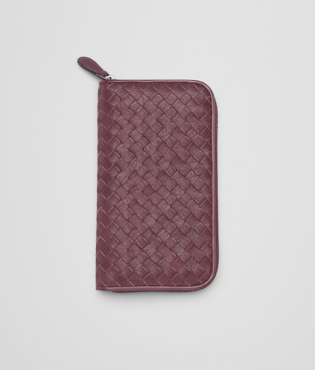 BOTTEGA VENETA Aubergine Rosa Shock Intrecciato Washed Vintage Zip Around Wallet Zip Around Wallet E fp