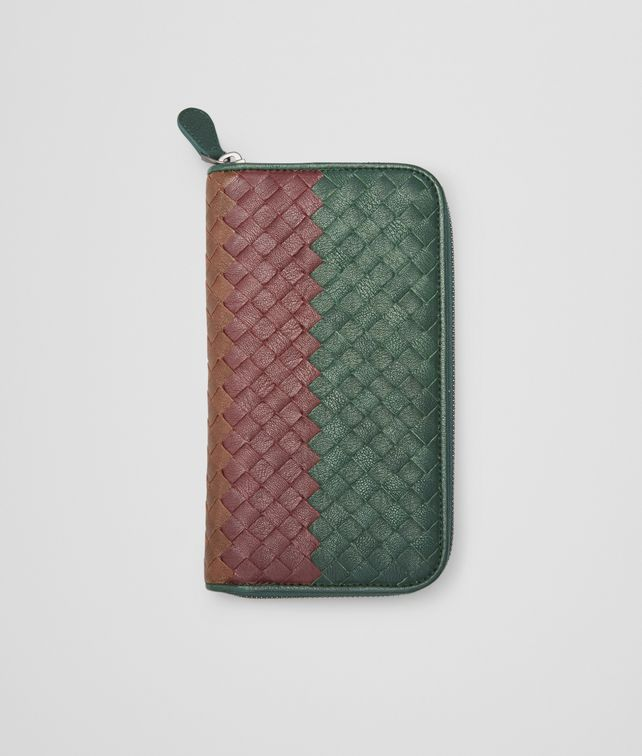BOTTEGA VENETA Emerald Green Aubergine Edoardo Intrecciato Club Fumé Zip Around Wallet - Online Boutique Exclusive  Zip Around Wallet U fp