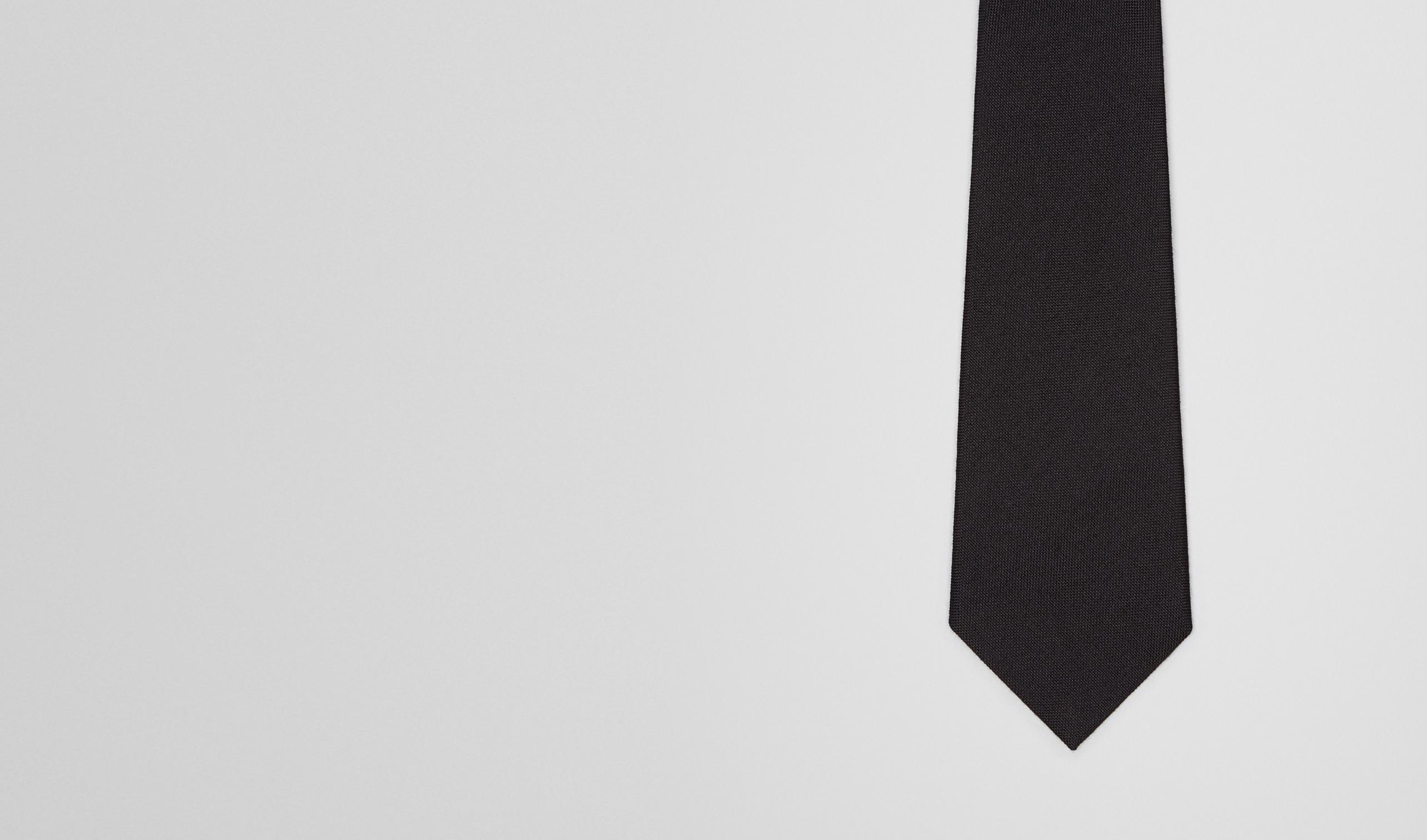 BOTTEGA VENETA Tie U Nero Wool Silk Tie pl