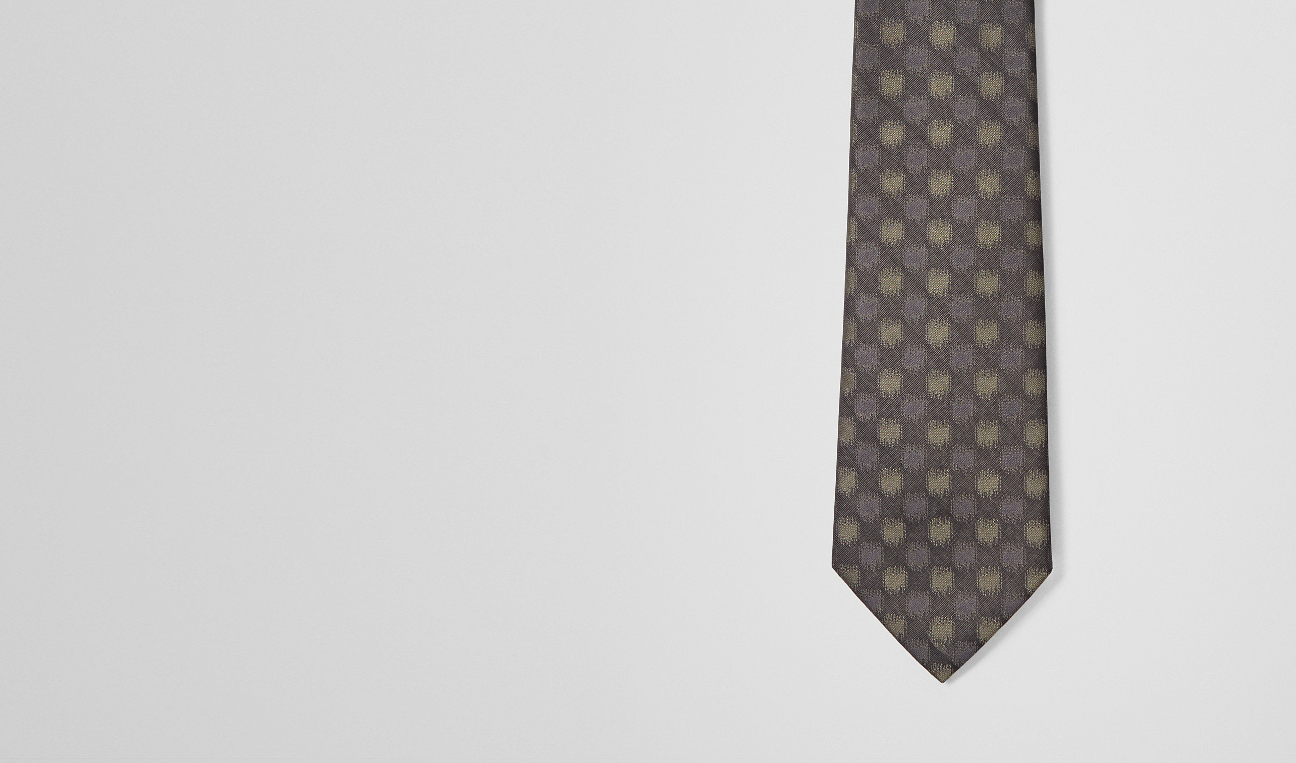 BOTTEGA VENETA Tie U Black Light Green Silk Tie pl