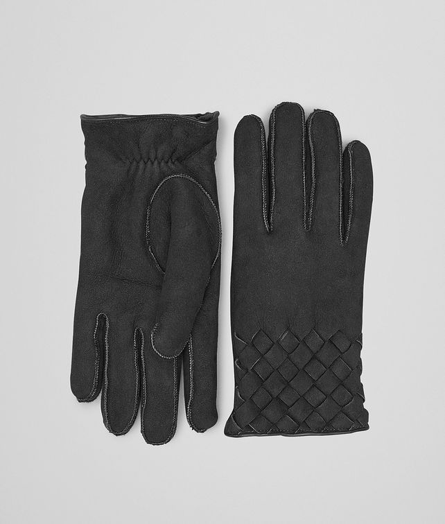 BOTTEGA VENETA Nero Lambskin Shearling Gloves Scarf or Hat or Glove U fp