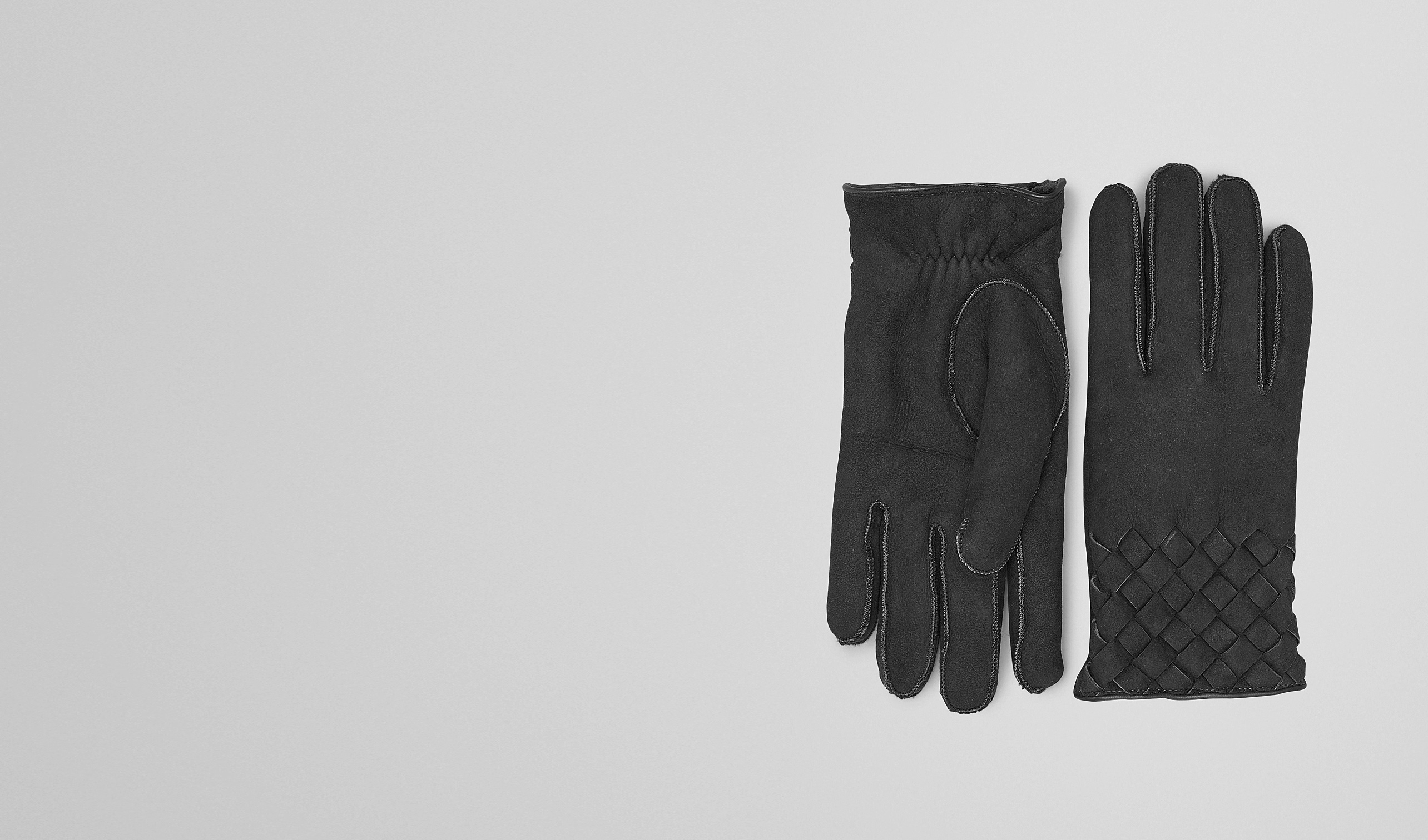 BOTTEGA VENETA Scarf or Hat or Glove U Nero Lambskin Shearling Gloves pl