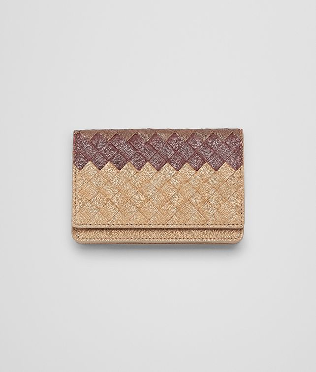 BOTTEGA VENETA New Bronze Aubergine Edoardointrecciato Club Fumé Card Case Card Case or Coin Purse U fp