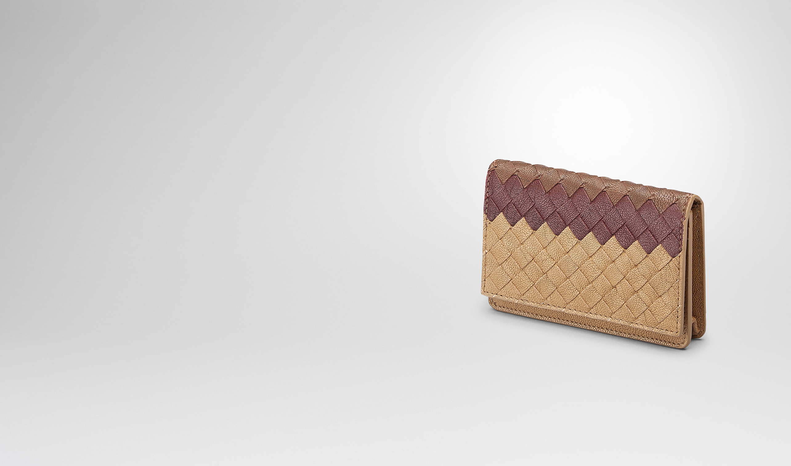 BOTTEGA VENETA Card Case or Coin Purse U New Bronze Aubergine Edoardointrecciato Club Fumé Card Case pl