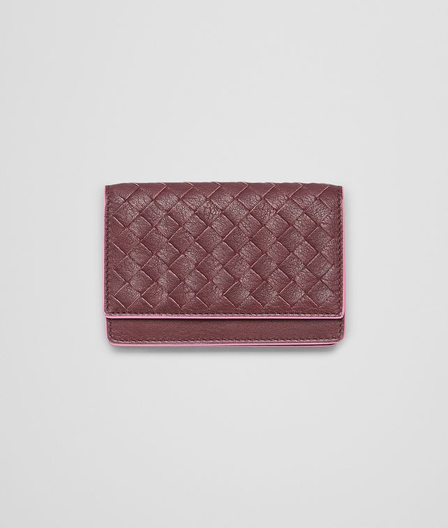 BOTTEGA VENETA Aubergine Rosa Shock Intrecciato Washed Vintage Card Case Mini Wallet or Coin Purse D fp