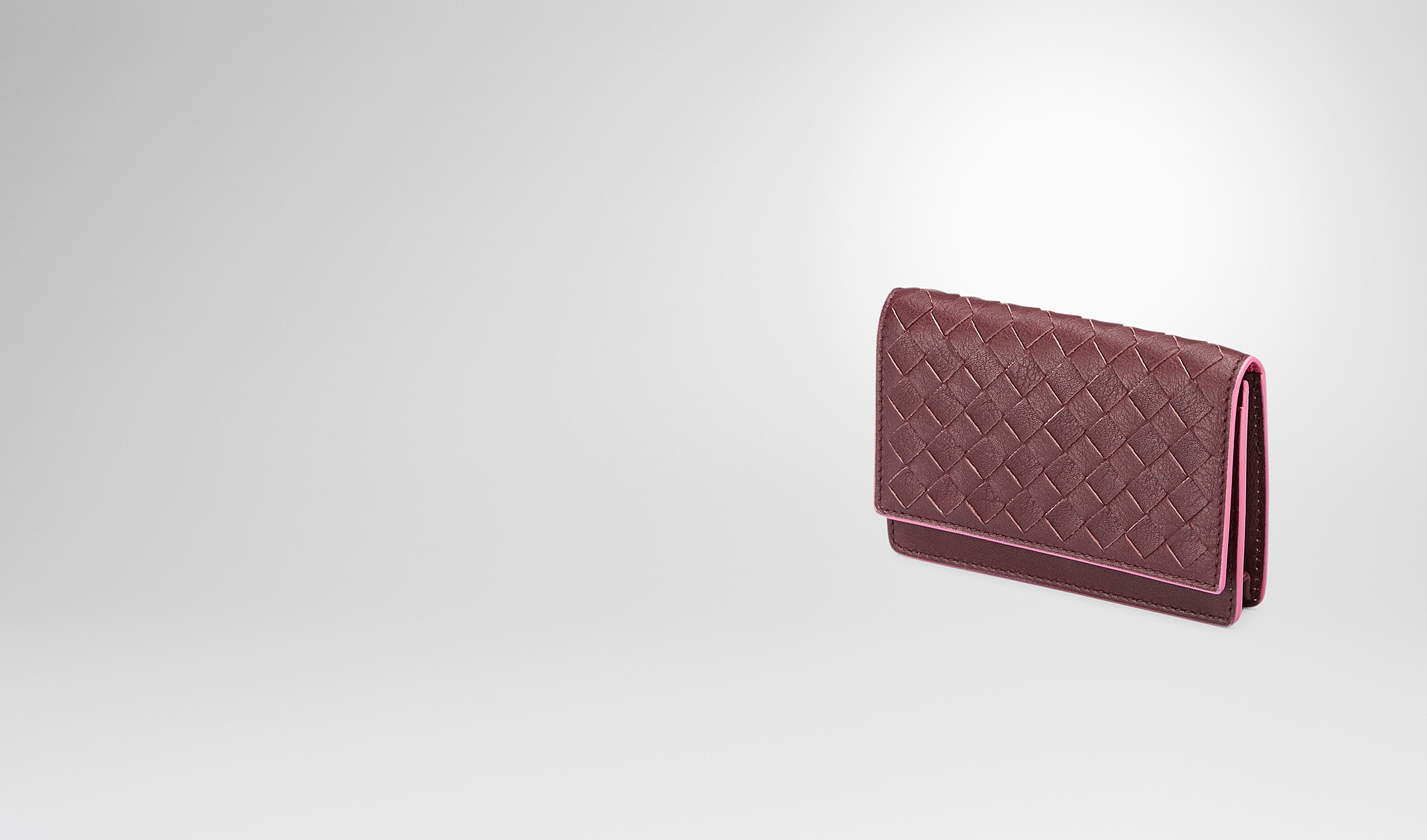 BOTTEGA VENETA Mini Wallet or Coin Purse D Aubergine Rosa Shock Intrecciato Washed Vintage Card Case pl