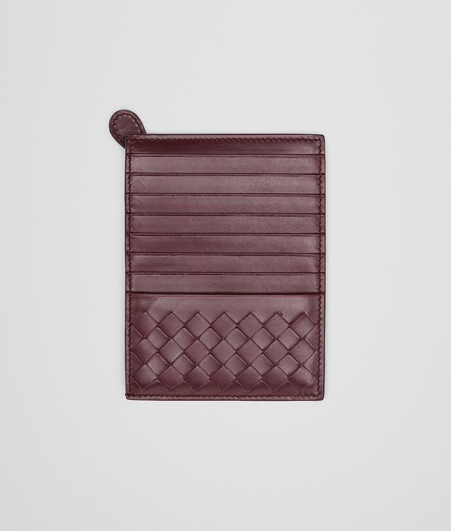 BOTTEGA VENETA Aubergine Intrecciato Light Calf Card Case Card Case or Coin Purse U fp