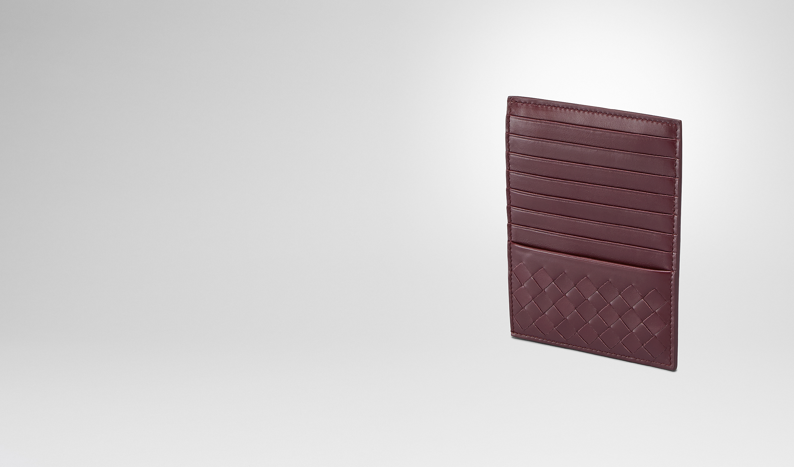 BOTTEGA VENETA Card Case or Coin Purse U Aubergine Intrecciato Light Calf Card Case pl