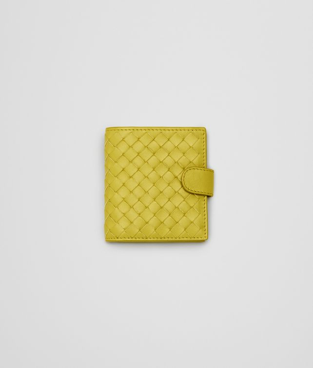 BOTTEGA VENETA New Chartreuse Intrecciato Nappa French Flap Mini Wallet Mini Wallet or Coin Purse D fp