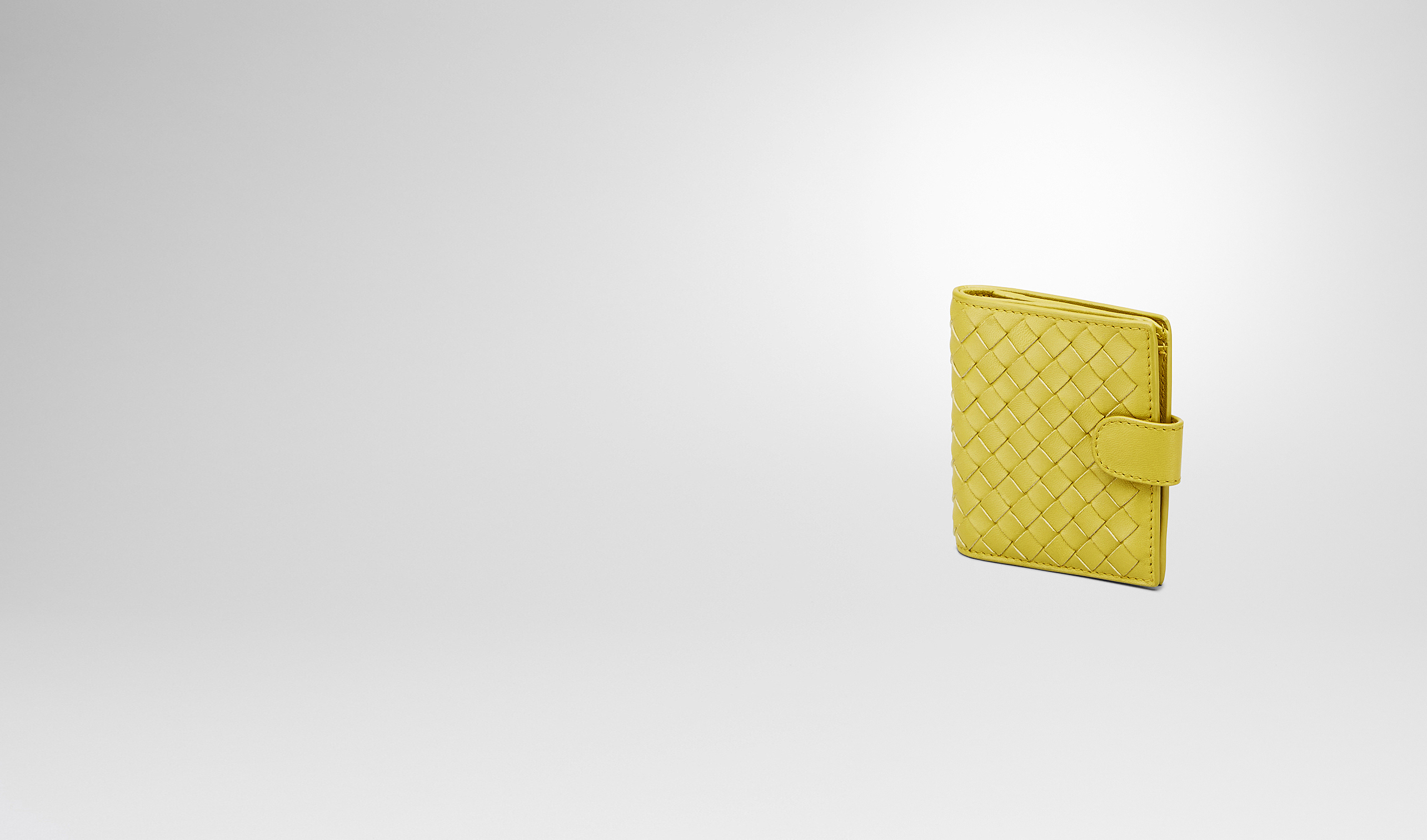BOTTEGA VENETA Mini Wallet or Coin Purse D New Chartreuse Intrecciato Nappa French Flap Mini Wallet pl