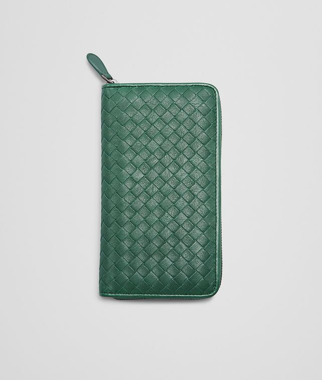 BOTTEGA VENETA EMERALD GREEN Intrecciato Washed Lambskin ZIP AROUND WALLET Zip Around Wallet D fp