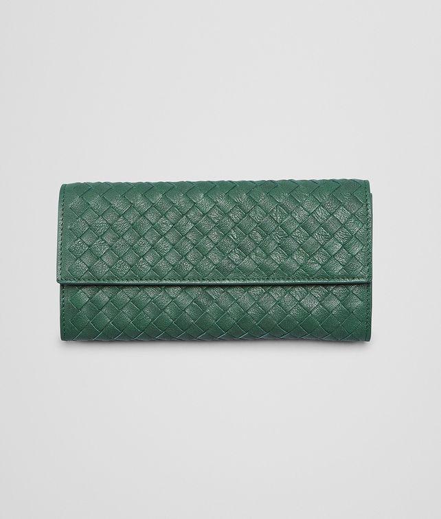 BOTTEGA VENETA Emerald Green Intrecciato Washed Lambskin Continental Wallet Continental Wallet D fp