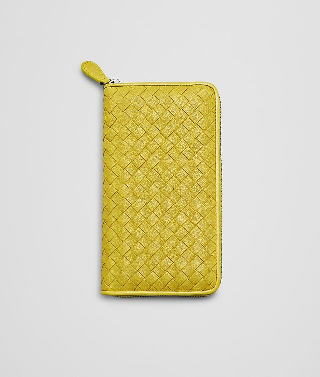 BOTTEGA VENETA New Chartreuse Intrecciato Washed Lambskin Zip Around Wallet Zip Around Wallet D fp