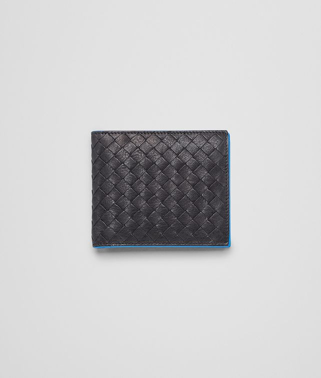 BOTTEGA VENETA Nero Signal Blue Intrecciato Washed Vintage Wallet Bi-fold Wallet U fp