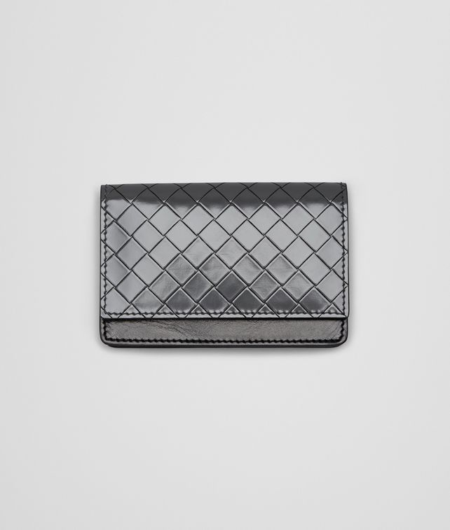 BOTTEGA VENETA NEW LIGHT GREY Intreccio Scolpito Spazzolato CARD CASE Card Case or Coin Purse U fp