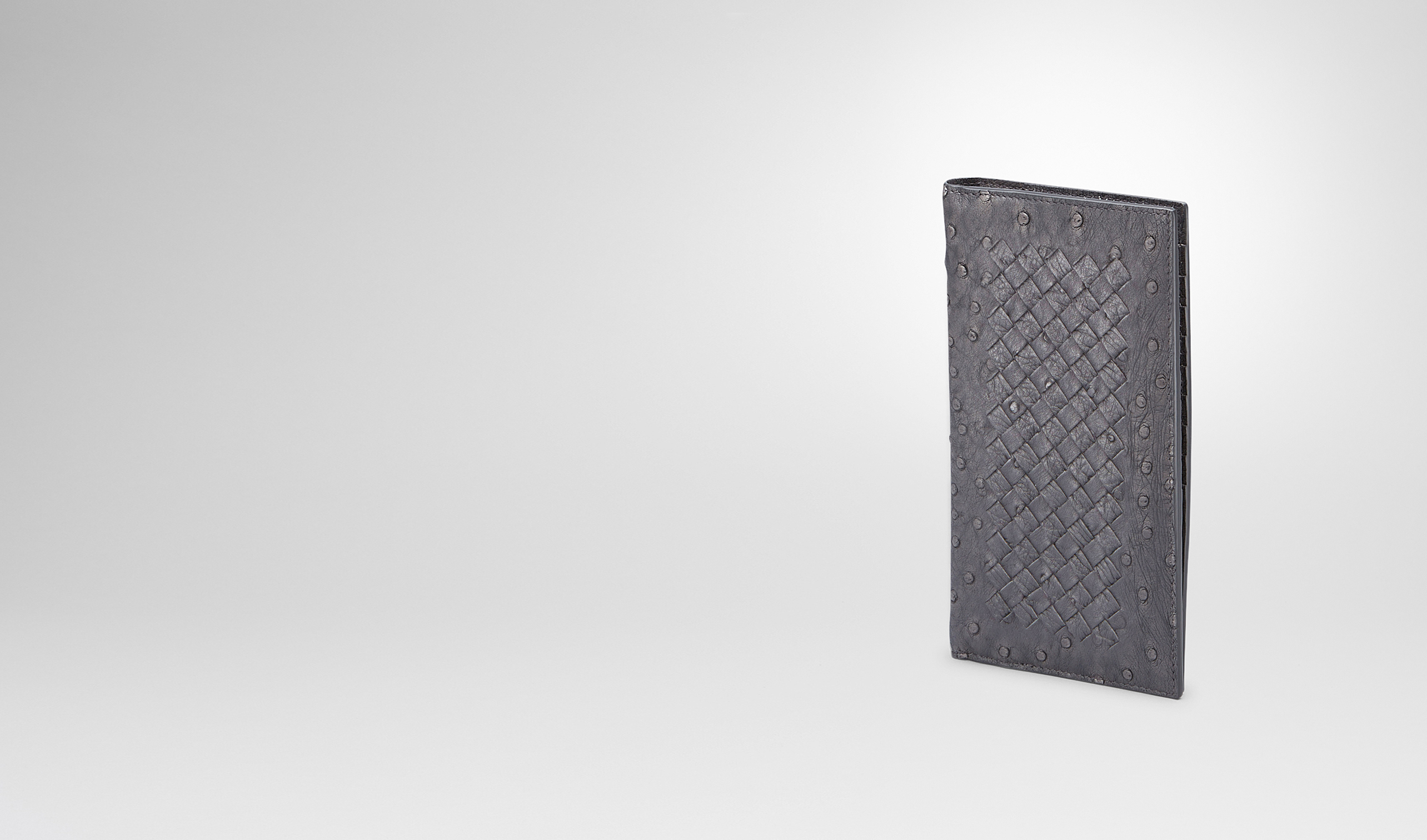 BOTTEGA VENETA Continental Wallet U New Light Grey Intrecciato Antique Ostrich Continental Wallet pl