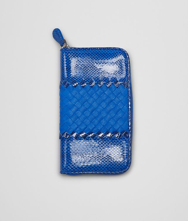 BOTTEGA VENETA Signal Blue Ayers Washed Lambskin Zip Around Wallet Zip Around Wallet D fp