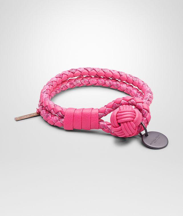 BOTTEGA VENETA Rosa Shock Intrecciato Ayers Nappa Bracelet Keyring or Bracelets D fp