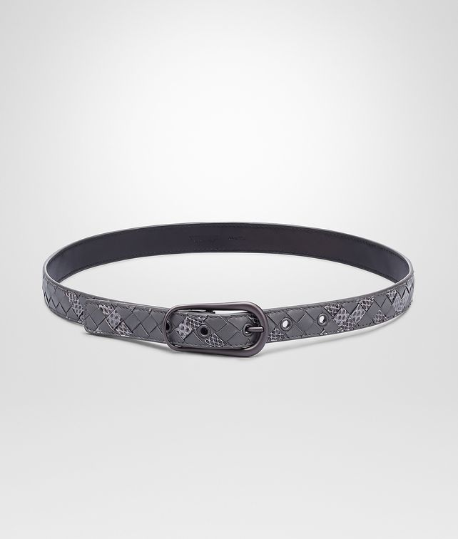 BOTTEGA VENETA New Light Grey Intrecciato Ayers Nappa Belt Belt D fp