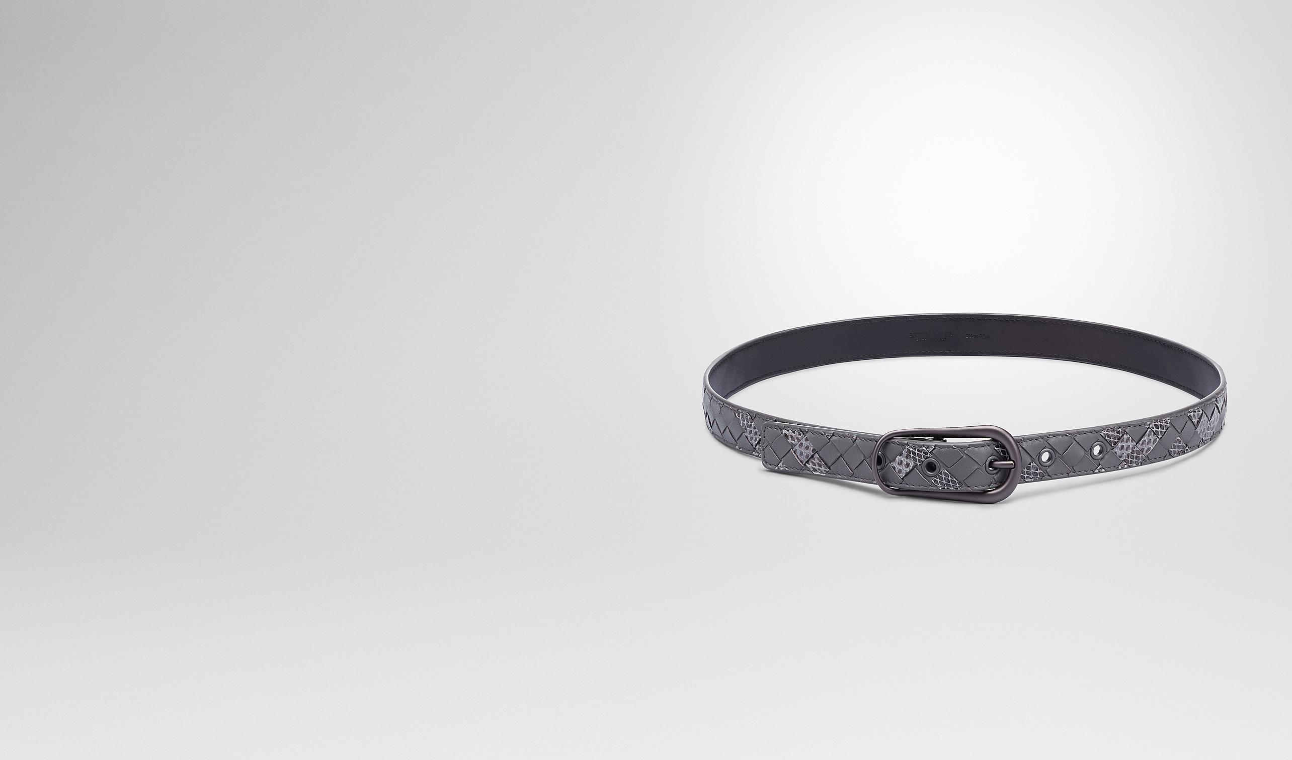 BOTTEGA VENETA Belt D New Light Grey Intrecciato Ayers Nappa Belt pl