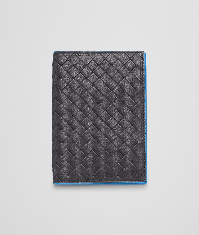 BOTTEGA VENETA Nero Signal Blue Intrecciato Washed Vintage Passport Case Other Leather Accessory E fp
