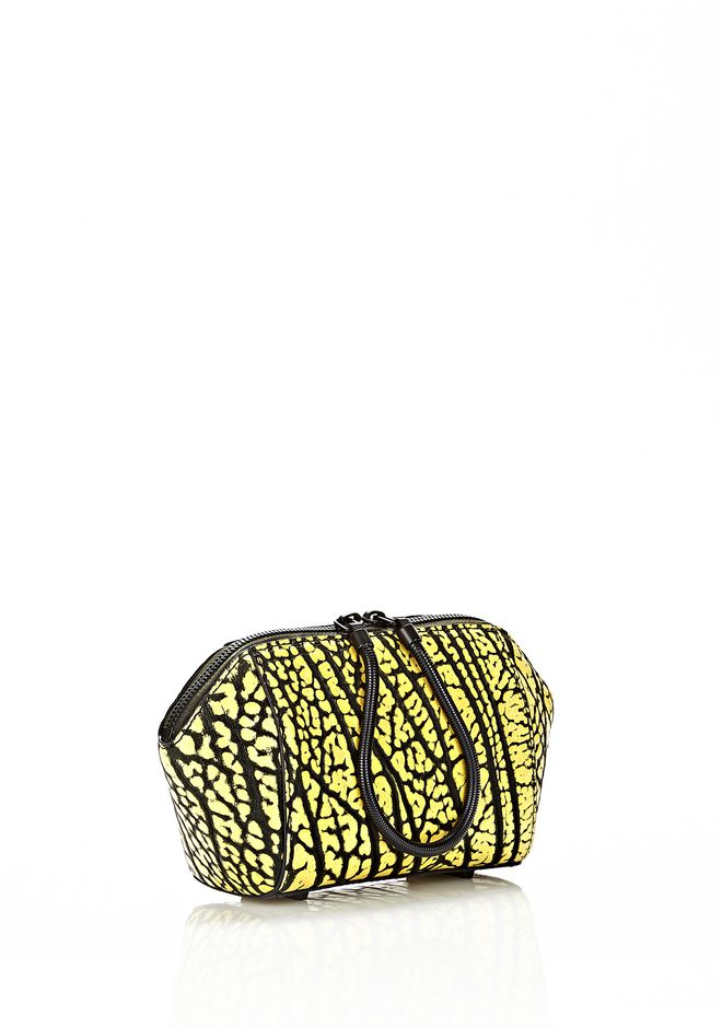 ALEXANDER WANG CHASTITY MAKE UP POUCH IN CONTRAST TIP CITRON SMALL LEATHER GOOD Adult 12_n_d