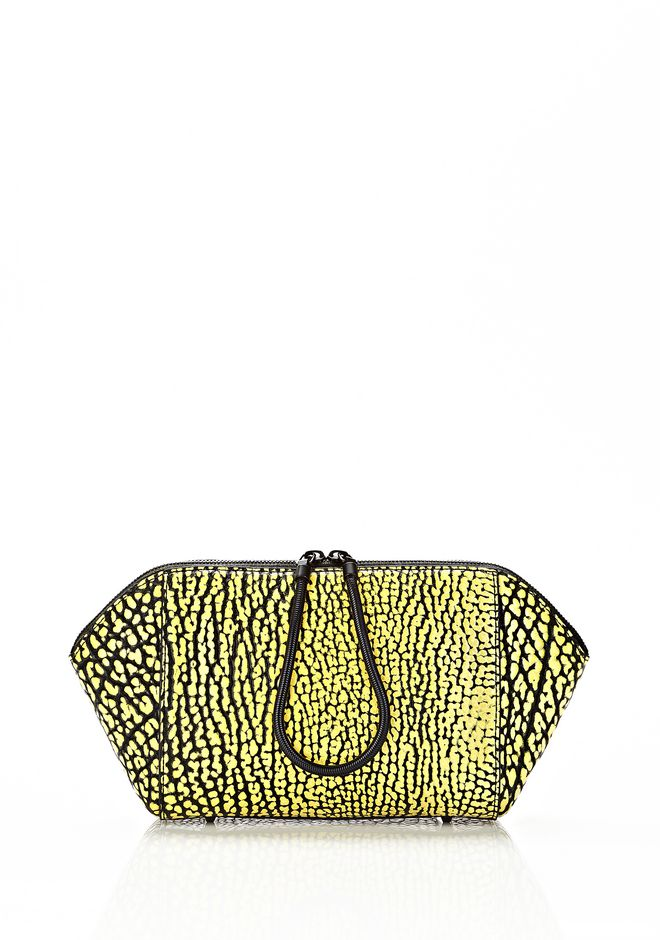 ALEXANDER WANG LARGE CHASTITY MAKE UP CLUTCH IN CONTRAST TIP CITRON SMALL LEATHER GOOD Adult 12_n_f