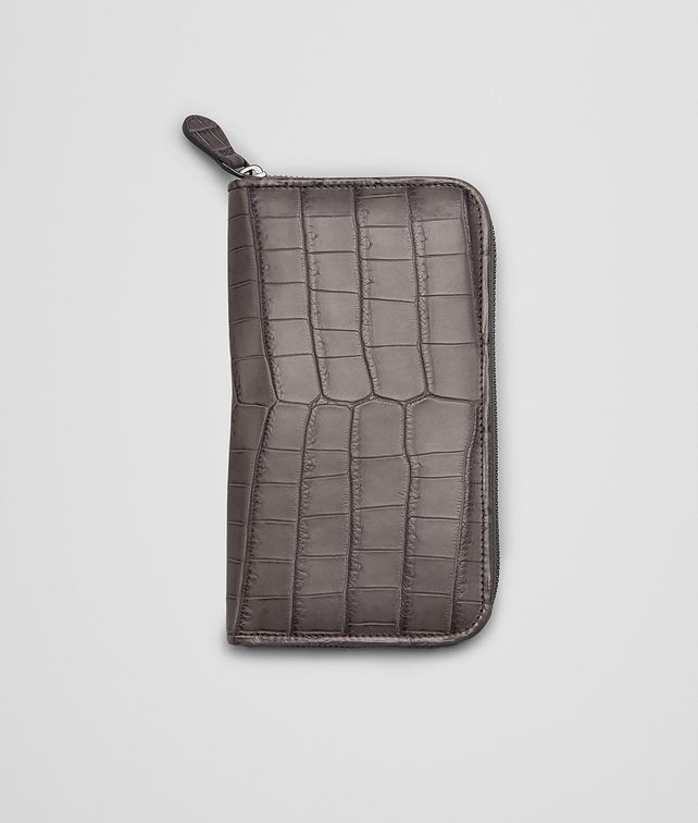BOTTEGA VENETA New Light Grey Soft Crocodile Fumé Zip Around Wallet Zip Around Wallet E fp