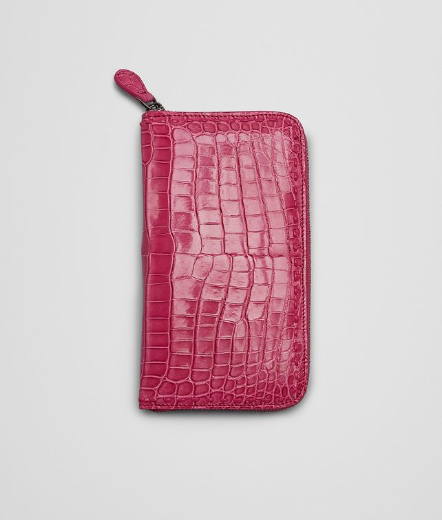 BOTTEGA VENETA ZIP AROUND WALLET IN ROSA SHOCK CROCODILE Zip Around Wallet D fp