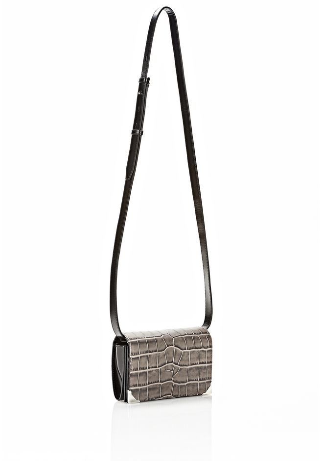 ALEXANDER WANG PRISMA DOUBLE BIKER PURSE IN EMBOSSED OYSTER SMALL LEATHER GOOD Adult 12_n_e