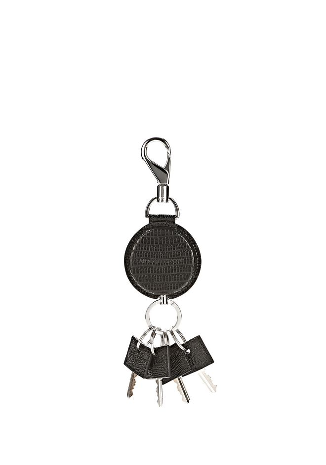 ALEXANDER WANG RUNWAY KEYRING IN EMBOSSED BLACK SMALL LEATHER GOOD Adult 12_n_f