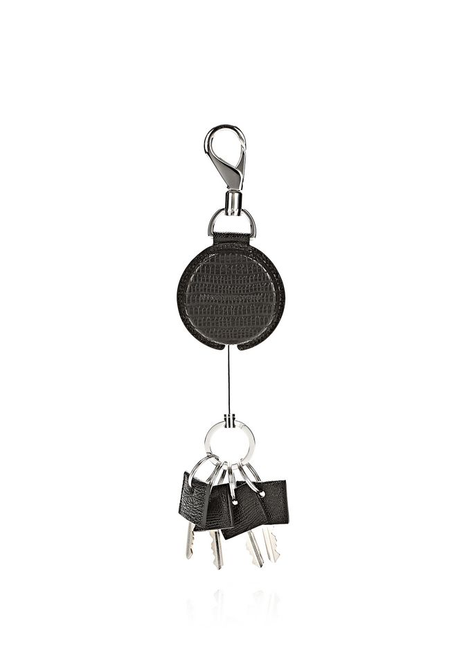 ALEXANDER WANG RUNWAY KEYRING IN EMBOSSED BLACK SMALL LEATHER GOOD Adult 12_n_r