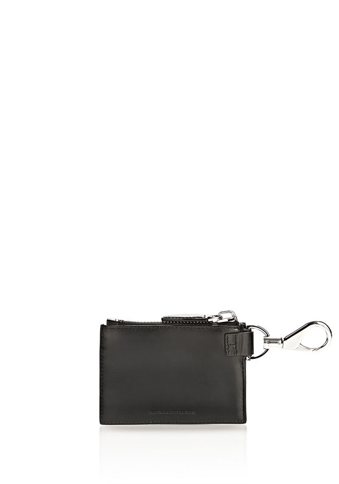 ALEXANDER WANG RUNWAY ZIP POUCH IN BLACK WITH RHODIUM SMALL LEATHER GOOD Adult 12_n_e
