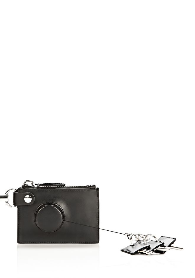 ALEXANDER WANG RUNWAY ZIP POUCH IN BLACK WITH RHODIUM SMALL LEATHER GOOD Adult 12_n_r