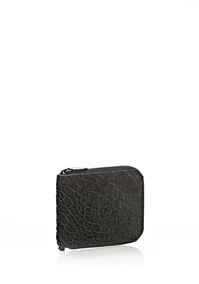 ALEXANDER WANG ZIPPED BI-FOLD IN BLACK EMBOSSED LAMB Wallets Adult 12_n_d