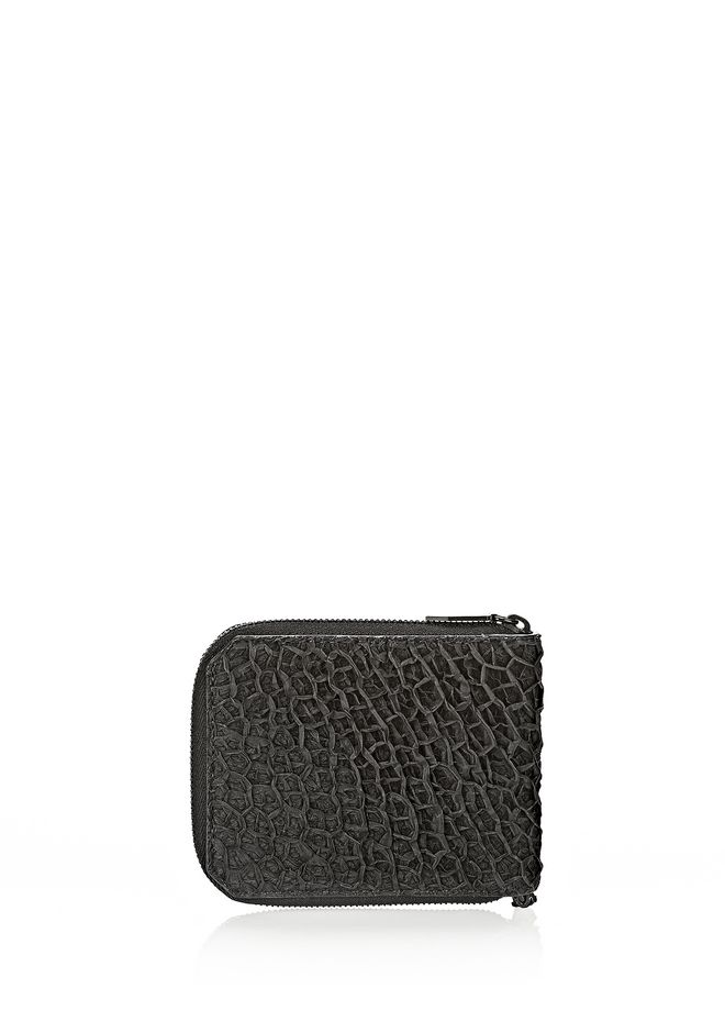 ALEXANDER WANG ZIPPED BI-FOLD IN BLACK EMBOSSED LAMB Wallets Adult 12_n_e