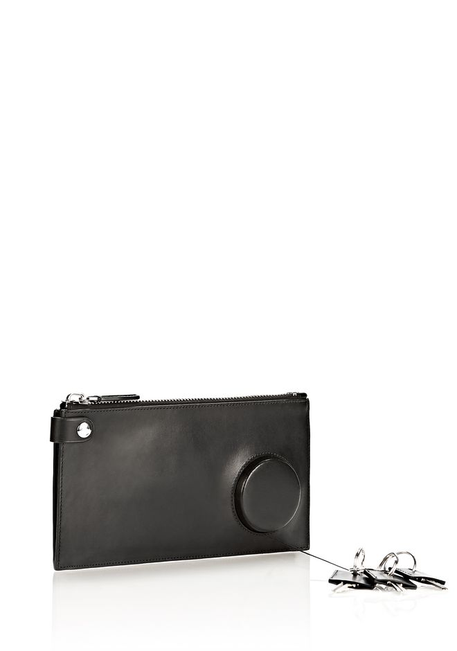 ALEXANDER WANG RUNWAY KEY CLUTCH IN BLACK WITH RHODIUM SMALL LEATHER GOOD Adult 12_n_e
