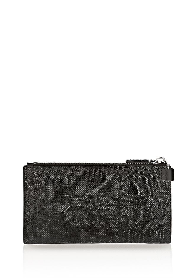ALEXANDER WANG RUNWAY KEY CLUTCH IN EMBOSSED BLACK WITH RHODIUM SMALL LEATHER GOOD Adult 12_n_d