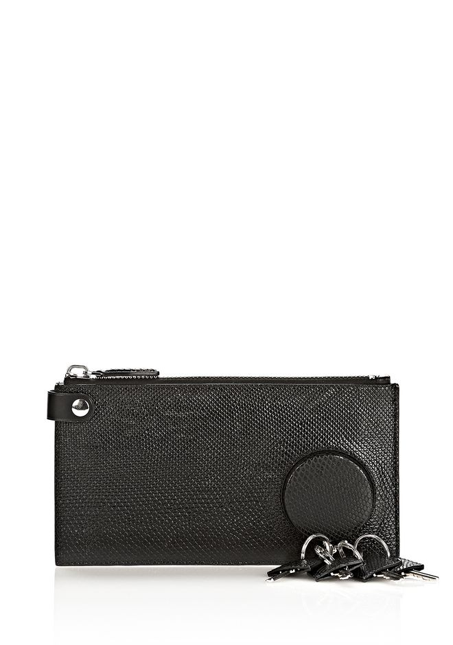 ALEXANDER WANG RUNWAY KEY CLUTCH IN EMBOSSED BLACK WITH RHODIUM SMALL LEATHER GOOD Adult 12_n_f