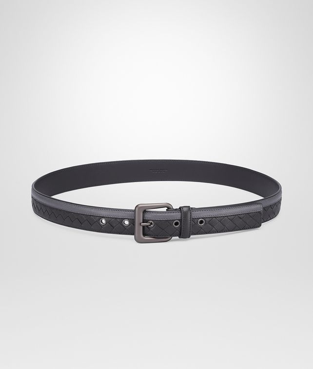 BOTTEGA VENETA BELT IN MEDIUM GREY NERO INTRECCIATO NAPPA Belt U fp