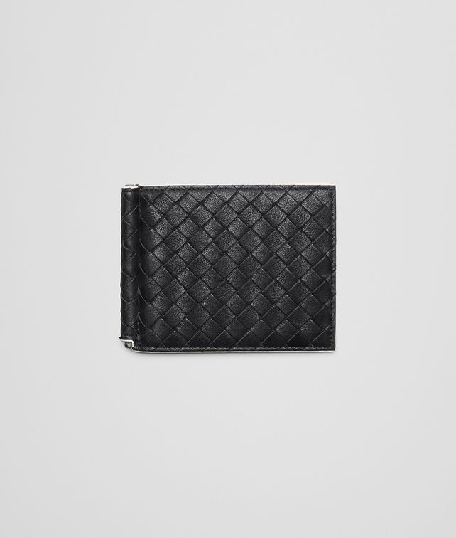 BOTTEGA VENETA BI-FOLD WALLET WITH MONEY CLIP IN NERO MIST CALF INTRECCIATO Bi-fold Wallet U fp