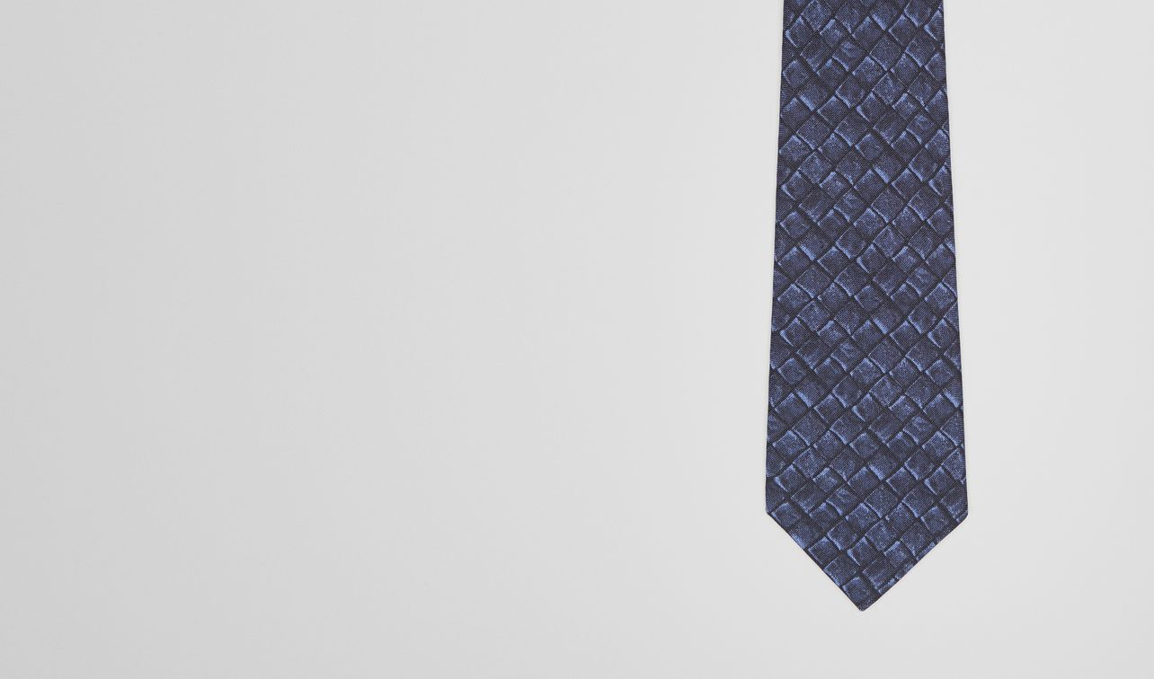 tie in midnight blue silk cotton  landing