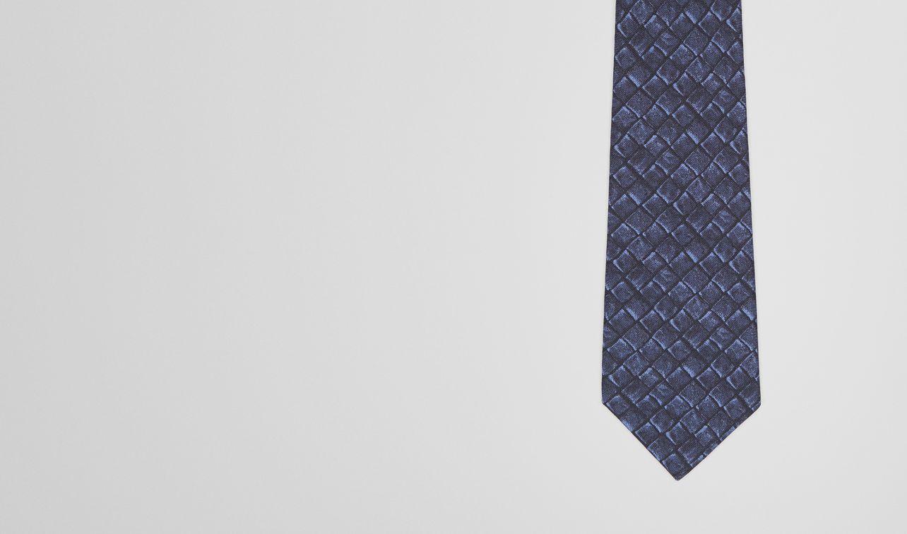 krawatte aus seide und baumwolle in midnight blue landing
