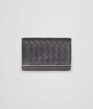 CARD CASE IN NERO MIST CALF INTRECCIATO