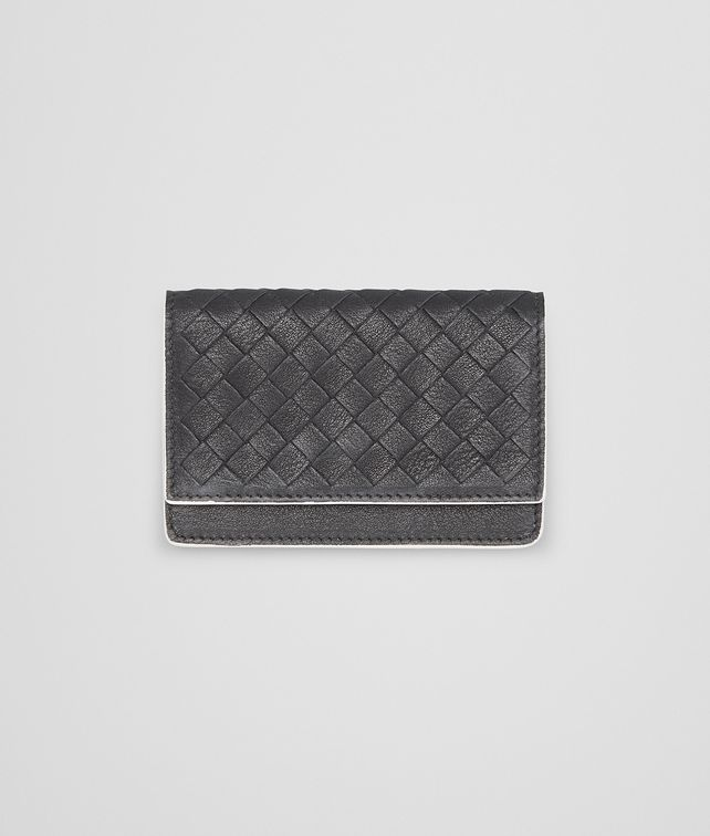 BOTTEGA VENETA NERO INTRECCIATO CALF CARD CASE Card Case or Coin Purse U fp