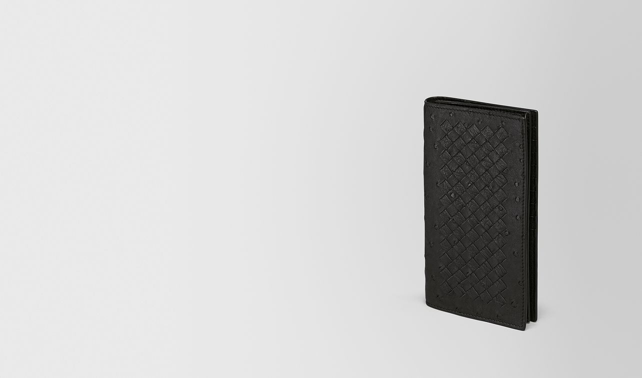 continental wallet in nero ostrich landing