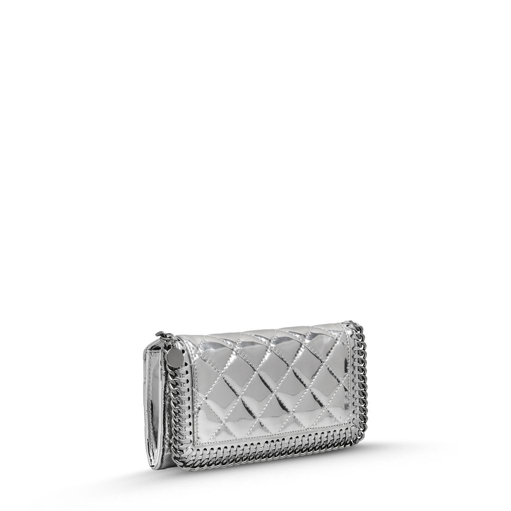 Falabella Quilted Metallic Flap Wallet - STELLA MCCARTNEY